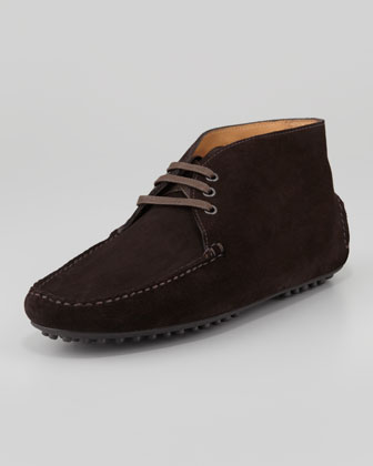 Suede Lace-Up Driving Shoe, Dark Brown
