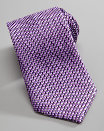 Micro-Basketweave Silk Tie, Purple