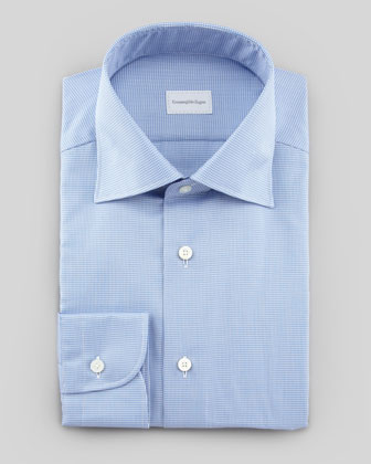 Micro-Houndstooth Dress Shirt, Blue/White