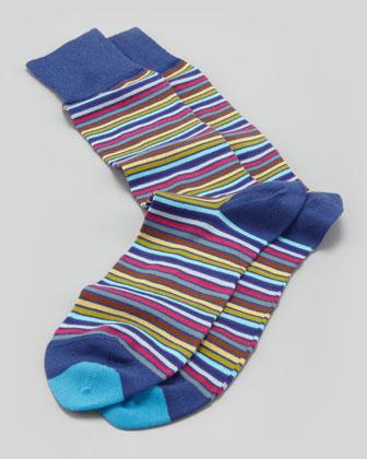 Microstripe Socks, Navy