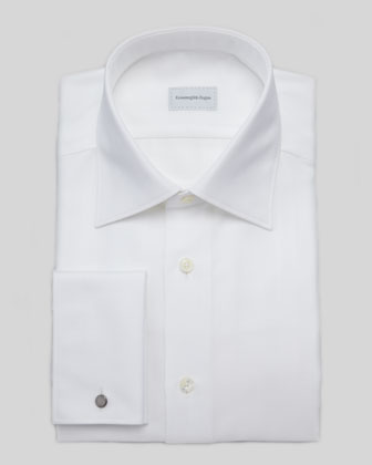 Textured Herringbone Dress Shirt, White