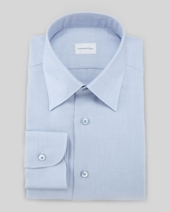 Textured Basketweave Dress Shirt, Blue