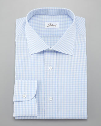 Small Check Dress Shirt, Light Blue