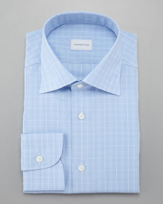Glen Plaid Dress Shirt, Light Blue