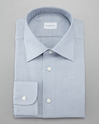 Modern Houndstooth Shirt, White/Gray