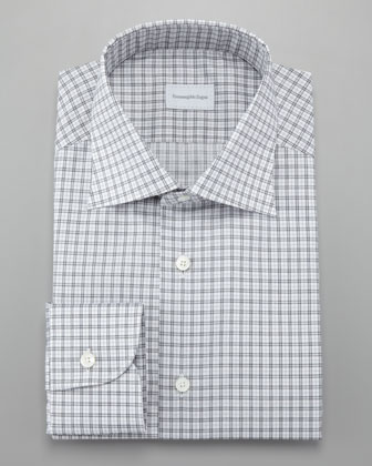 Tattersall Dress Shirt, Gray/White