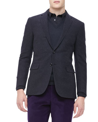 Houndstooth Wool Jacket, Black/Charcoal