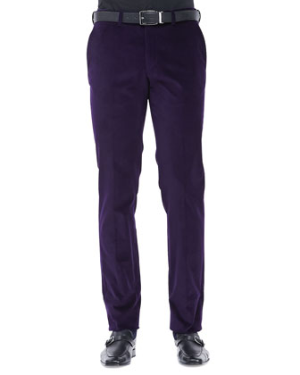 Flat-Front Corduroy Pants, Purple
