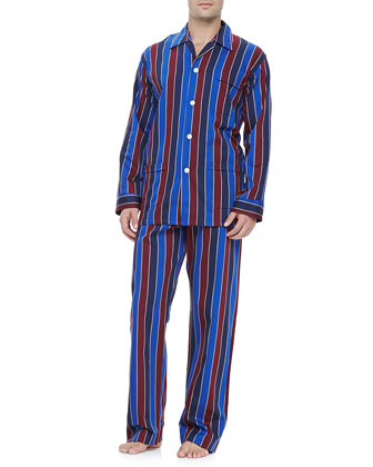 Multi-Stripe Men's Pajamas, Blue/Burgundy