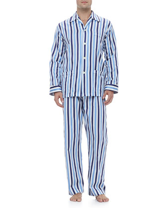Men's Pajama Set, Blue Stripe