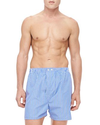 Pinstripe Boxer Shorts, Blue