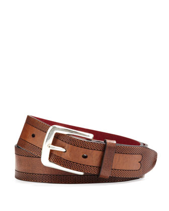 Perforated Belt with Red Lining, Light Brown