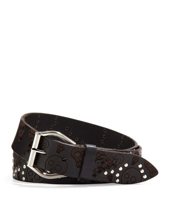 Skulls and Studs Belt, Black