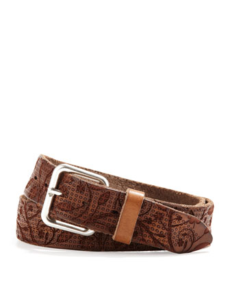 Men's Floral Perforated Belt, Brown