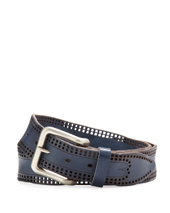 Men's Perforated Leather Belt, Blue