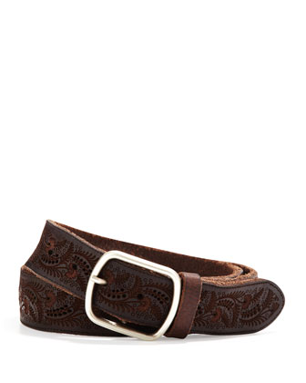 Paisley Embossed Leather Belt, Brown