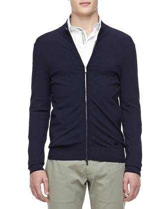 Zip Cardigan Sweater, Navy