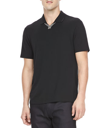 Contrast-Placket Short-Sleeve Polo, Black
