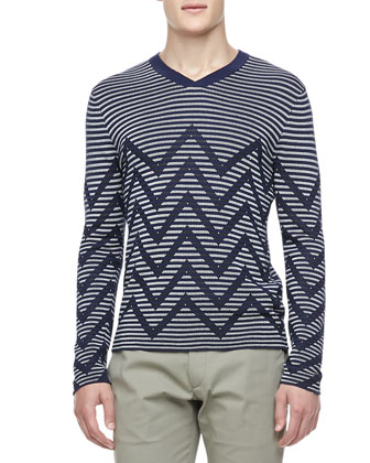 Chevron-Striped Sweater, Blue