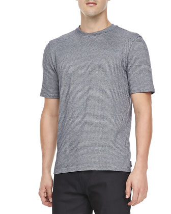 Geometric Textured Crewneck Tee, Black