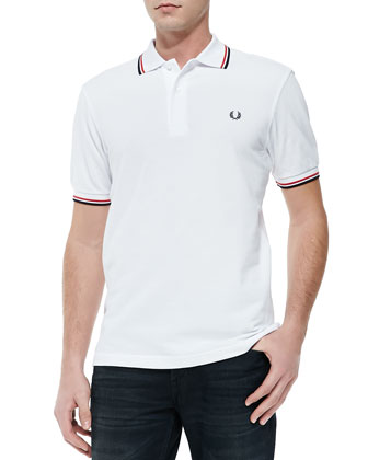 Twin-Tipped Polo Shirt, White/Red/Navy