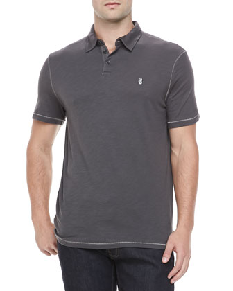 Short Sleeve Peace-Sign Polo, Dark Gray