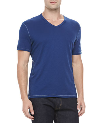 V-Neck Slub T-Shirt, Dark Blue
