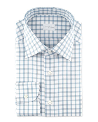 Bold Twill Box-Check Dress Shirt