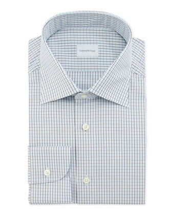 Tattersall-Check Dress Shirt, Aqua/Brown