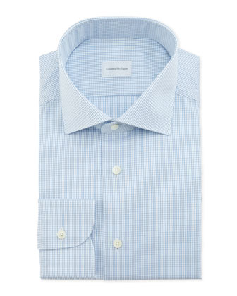 Textured Graph-Check Dress Shirt, Blue