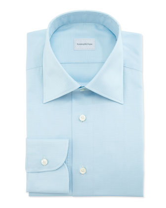 Micro-Houndstooth Dress Shirt, Aqua