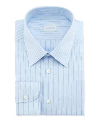Ground-Herringbone Dress Shirt, Blue