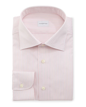 Ground-Stripe Dress Shirt, Pink