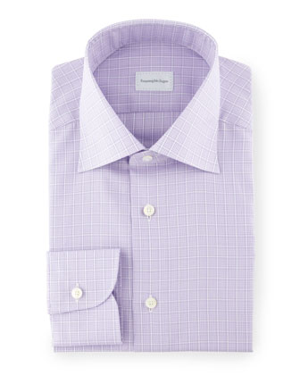 Grid Plaid Dress Shirt, Lavender