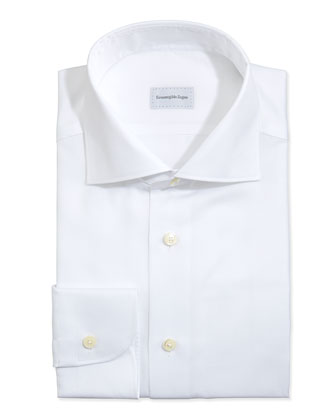 Textured Woven Dress Shirt, White