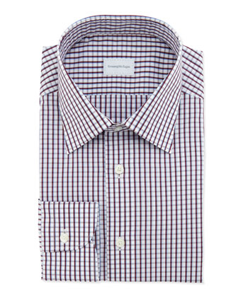 Woven Check Dress Shirt, Burgundy/Blue