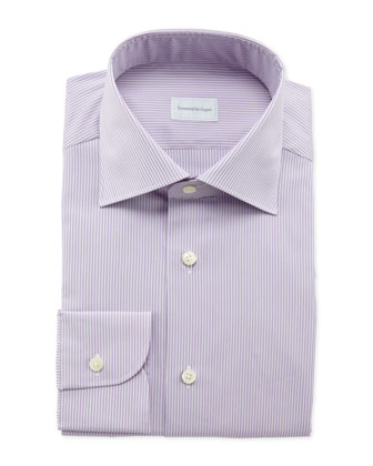 Pencil-Stripe Dress Shirt, Lilac