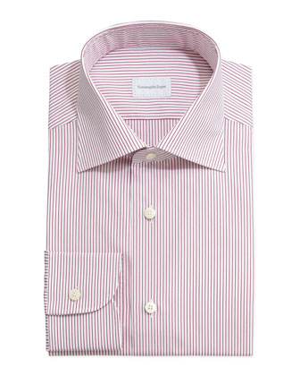 Fine Line Striped Dress Shirt, Red