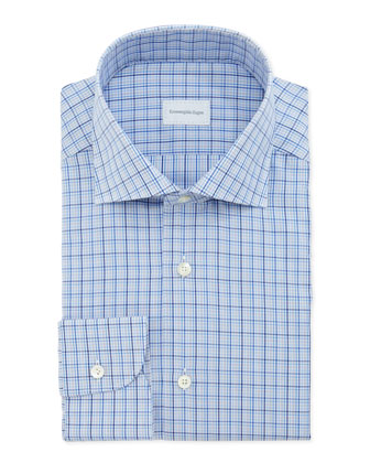 Small-Plaid Dress Shirt, Blue/Navy