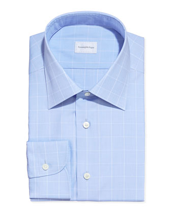 Box Check Dress Shirt, Light Blue