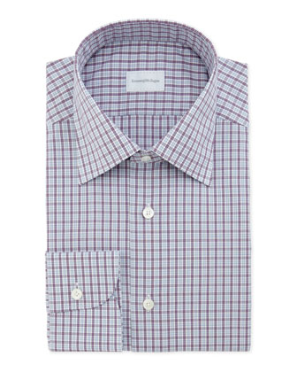 Small-Plaid Dress Shirt, Purple/Light Blue