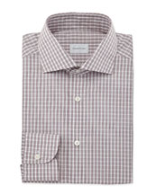 Check Button-Down Dress Shirt, Burgundy/White