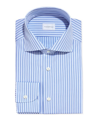 Satin-Stripe Dress Shirt, Blue/Light Blue