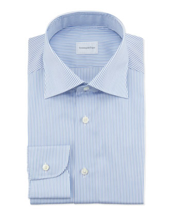Pencil Stripe Dress Shirt, Blue/White