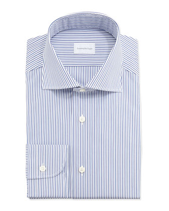 Bold-Stripe Dress Shirt, Blue