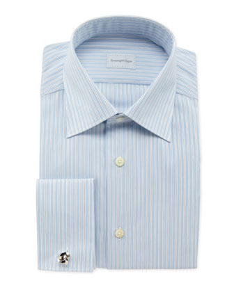 Track-Stripe French-Cuff Dress Shirt, Light Blue