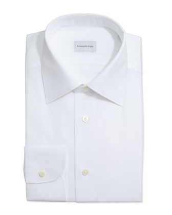 Textured Sateen Dress Shirt, White