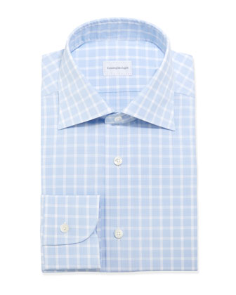 Box-Check Woven Dress Shirt, Light Blue