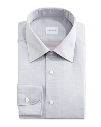 Tonal Glen Plaid Dress Shirt, Tan