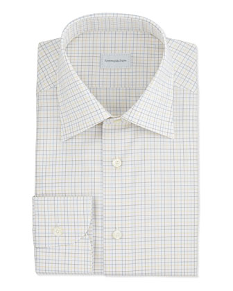 Textured Multi Tattersall Dress Shirt, Yellow
